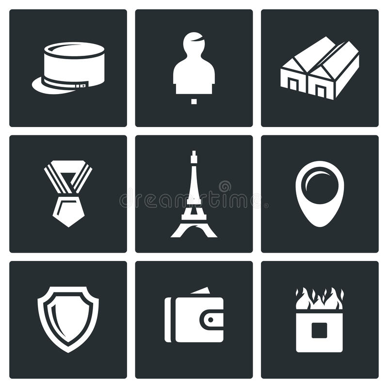 Vector Set of French Legion Icons. vector illustration