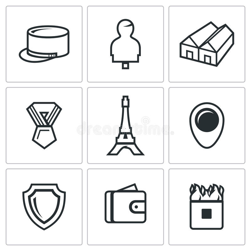 Vector Set of French Legion Icons. stock illustration