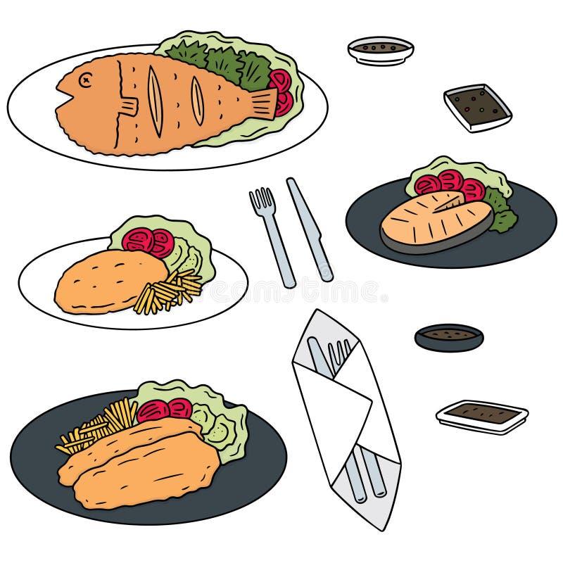 Vector set of fried fish. Hand drawn cartoon, doodle illustration stock illustration