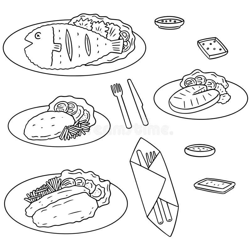 Vector set of fried fish. Hand drawn cartoon, doodle illustration royalty free illustration