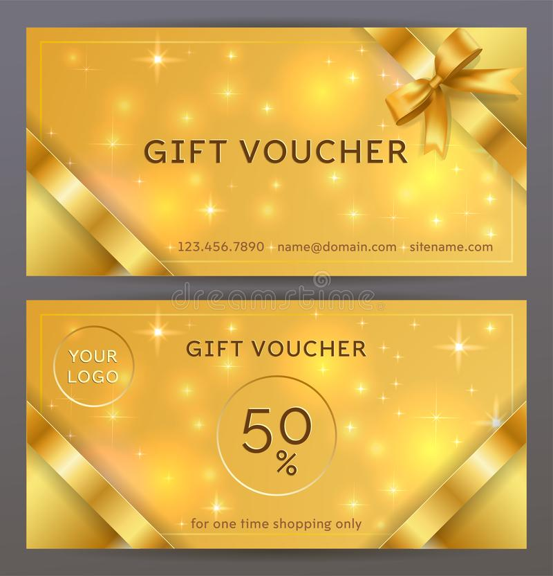 Vector set of front and back sides of luxury gift voucher with golden ribbons, bows. Isolated Elegant sparkling, shining template stock illustration