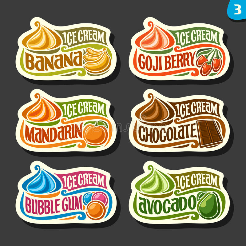 Vector set of fruit Ice Cream labels royalty free illustration