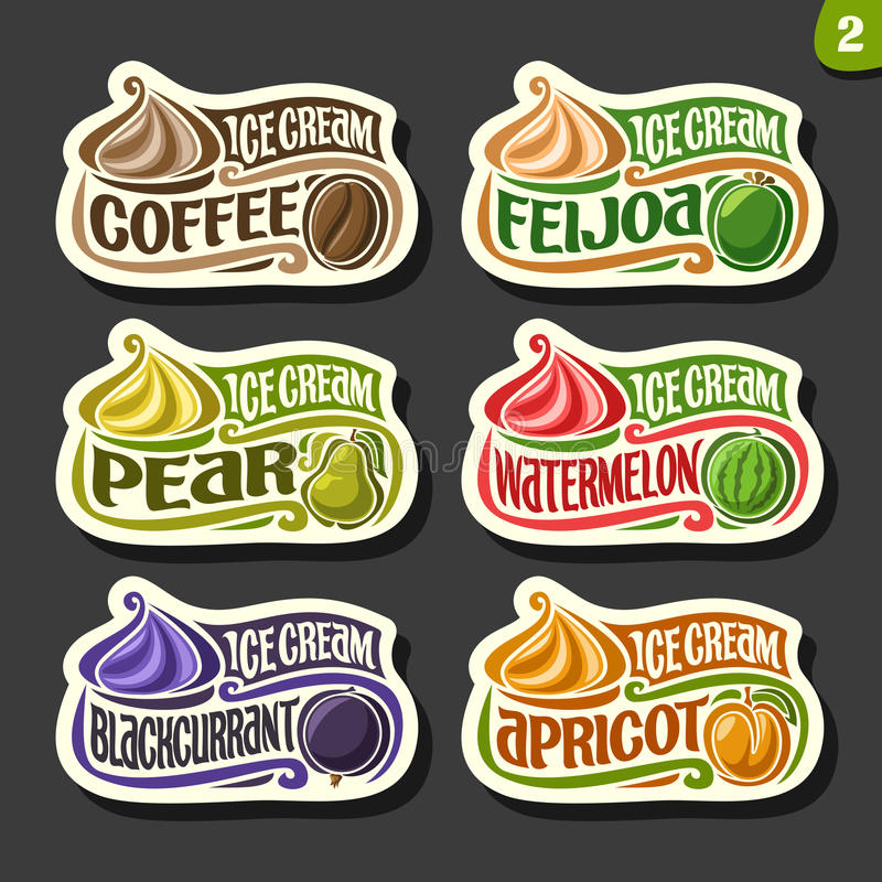 Vector set of fruit Ice Cream labels vector illustration