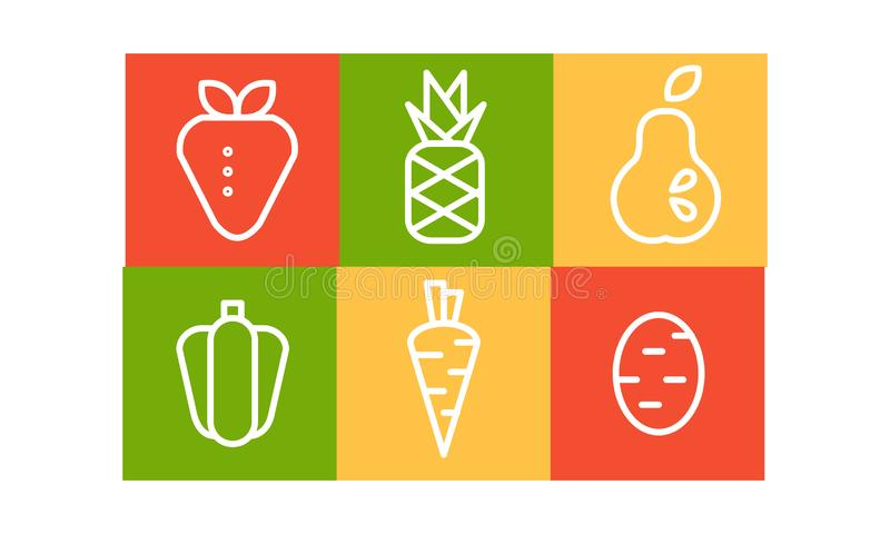 Vector set of fruits and vegetables in linear style in colorful squares. Organic and healthy food. Natural products vector illustration