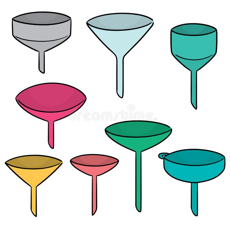 Vector set of funnels. Hand drawn cartoon, doodle illustration royalty free illustration