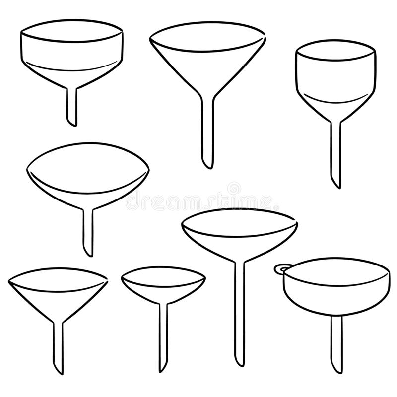 Vector set of funnels. Hand drawn cartoon, doodle illustration vector illustration