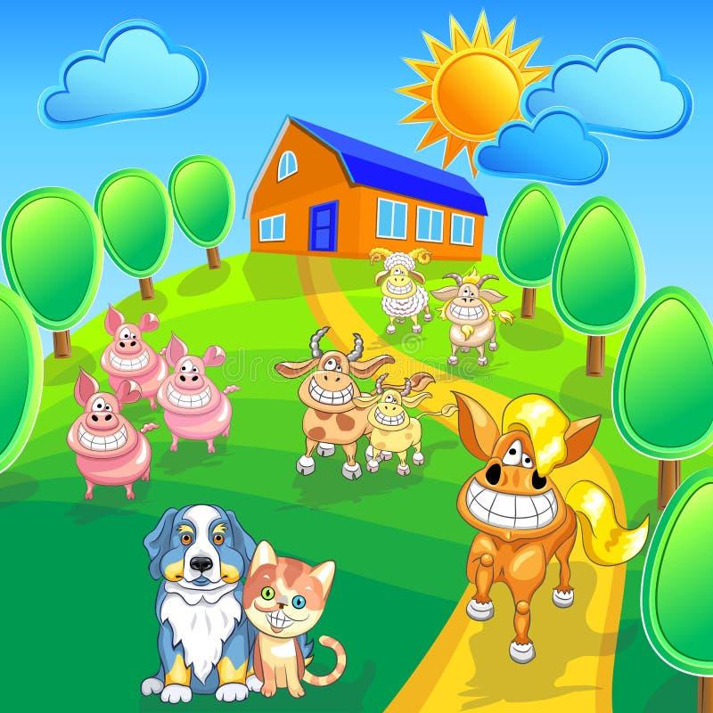 vector set funny cartoon farm animals stock illustration