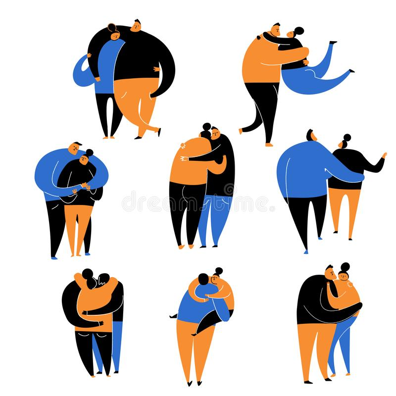 Vector set of funny couple in love hugging. Flat cartoon illustration. Isolated on white background. Vector set of funny couple in love hugging. Flat cartoon vector illustration