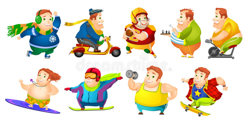 Vector set of funny fat man sport illustrations. royalty free illustration