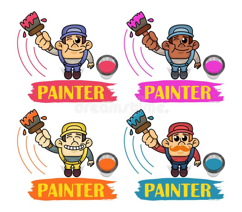 Vector Set of funny Interracial Painters in top view perspective. Man is holding paint roller in hand. Customer Service. vector illustration