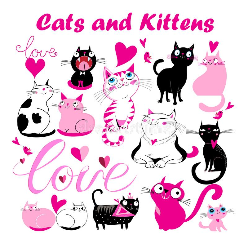 Vector set of funny kittens and cats with hearts royalty free stock photos
