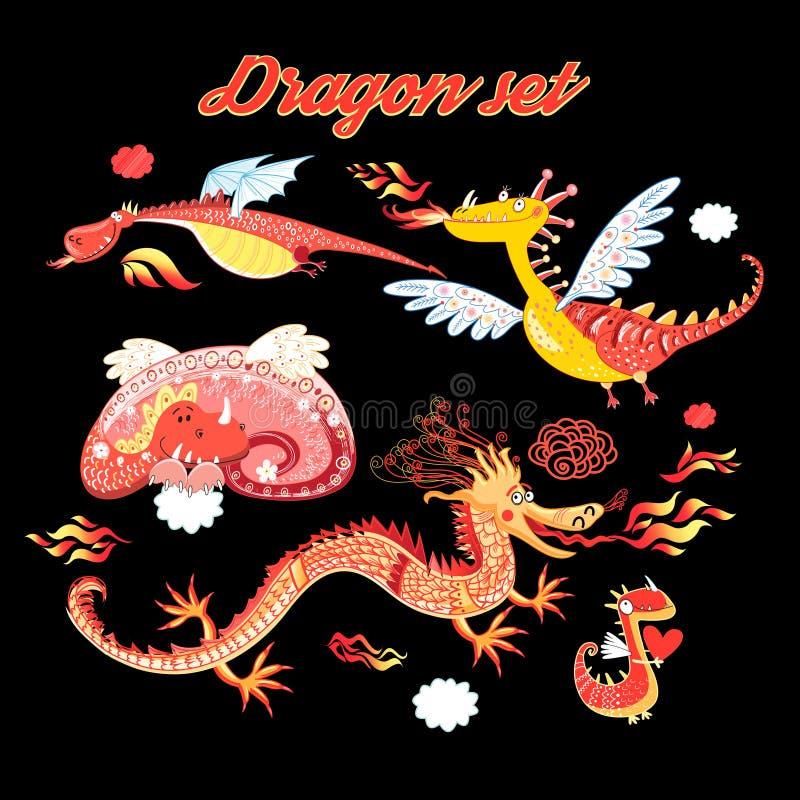Vector set of funny lovely dragons vector illustration