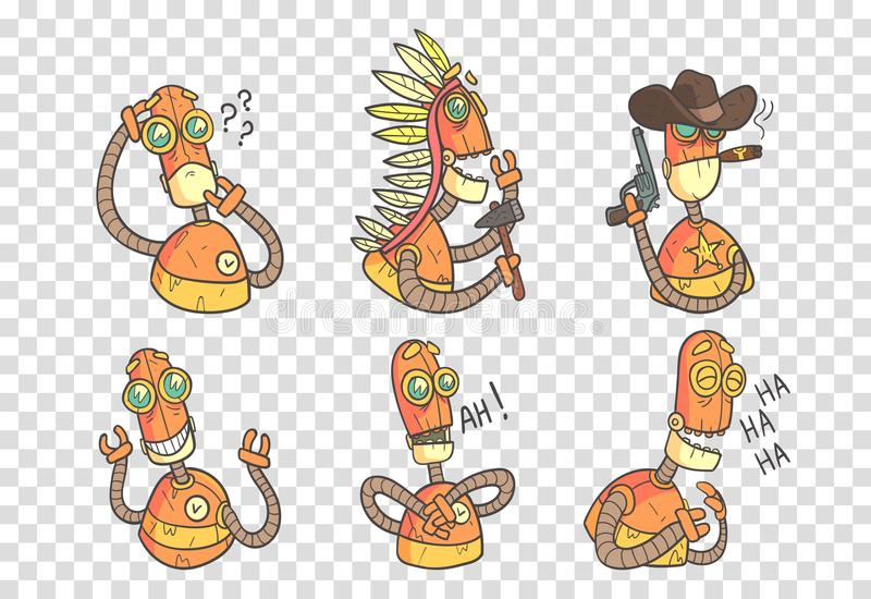 Vector set of funny robots in outline style with colorful fill. Orange android with different emotions. Elements for royalty free illustration