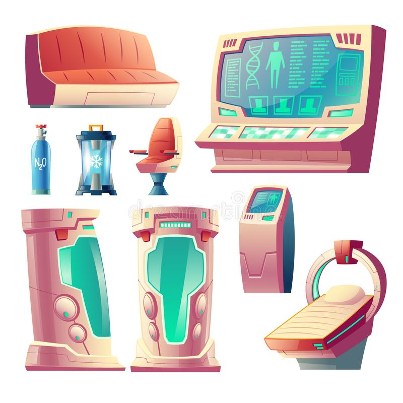 Vector set of futuristic equipment for hibernation. Vector cartoon set with futuristic equipment for hibernation, empty cryogenic cameras for sleeping in space royalty free illustration