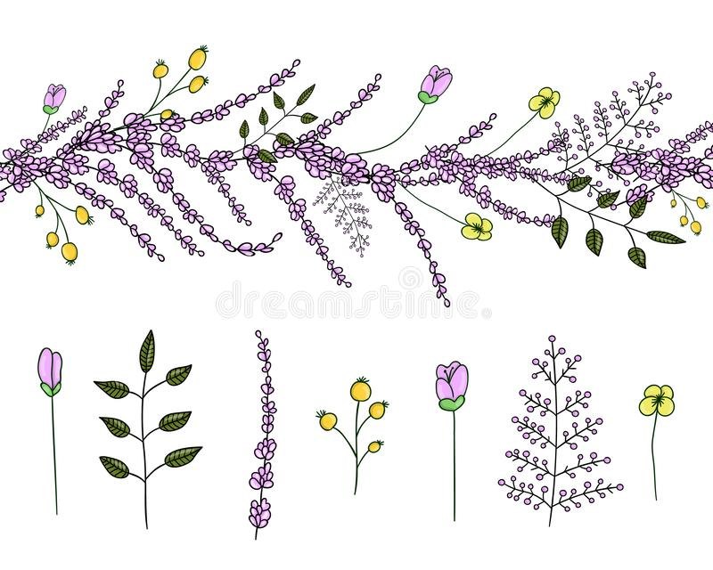 Vector set of garden plant design elements and pattern brush with stylized lavender. Vector  set of garden plant design elements and pattern brush with stylized vector illustration