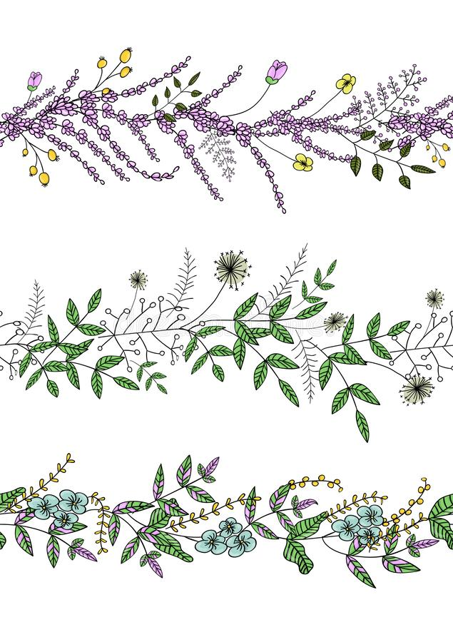 Vector  set of garden plant pattern brushes with stylized lavender, forget-me-not, basil, dandelion. Hand drawn cartoon style. Illustration. Cute summer or stock illustration