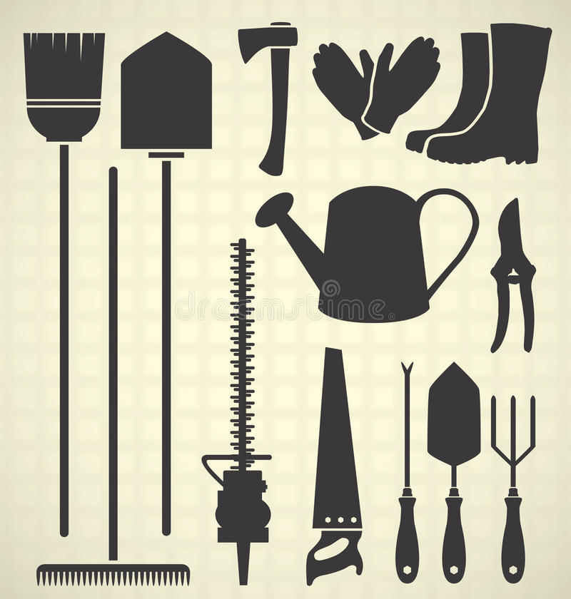 Download Vector Set: Garden Tools Silhouettes Stock Vector - Illustration: 31440958