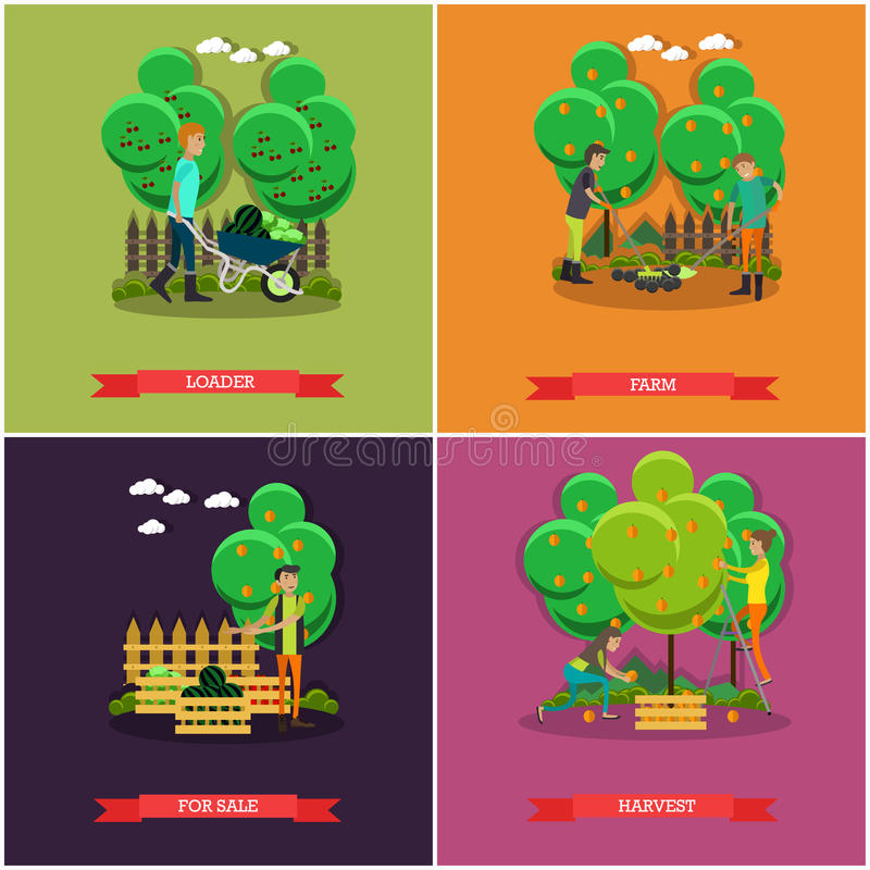 Vector set of gardening, farming concept posters, banners, flat design. vector illustration