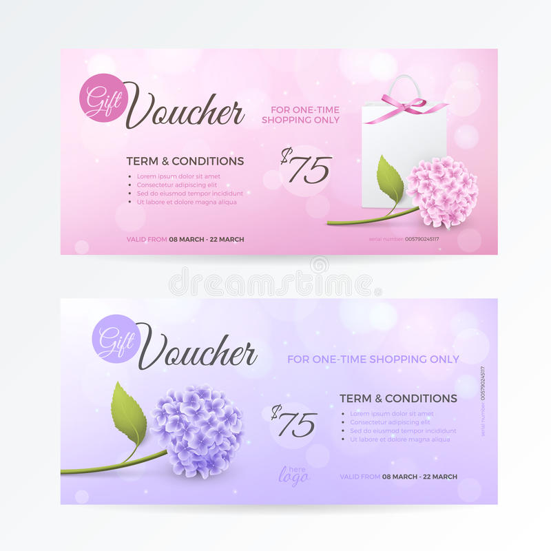 Vector set of gentle gift vouchers with hydrangea, paper shopping bag, bow on the pink and purple background. stock illustration