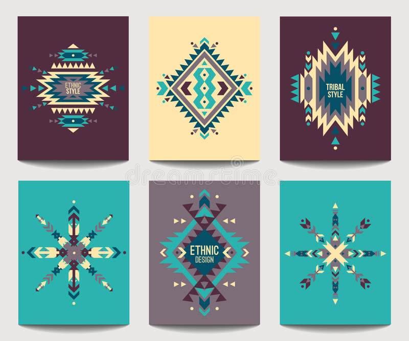 Vector set of geometric abstract colorful flyers. Ethnic design royalty free illustration
