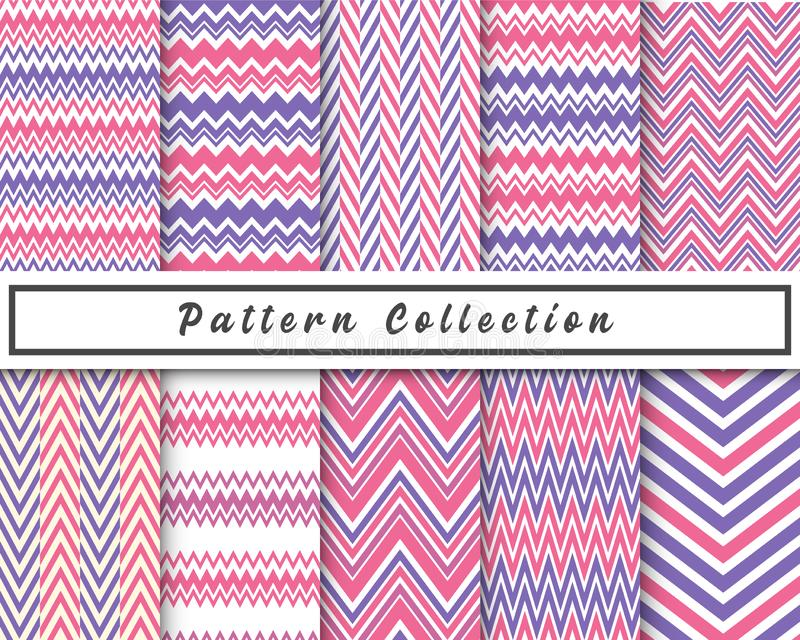 Vector set of 10 Geometric chevron zigzag seamless pattern. Repeated background, backdrop or invitation card abstract design. vector illustration