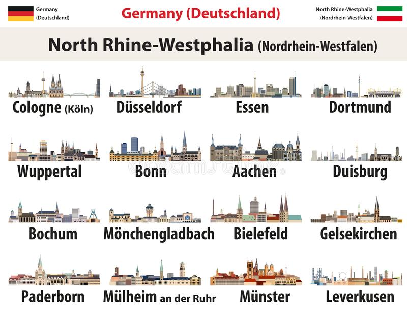 Vector set of Germany state North Rhine- Westphalia largest cities skylines icons. Vector set of Germany state North Rhine- Westphalia largest cities skylines vector illustration