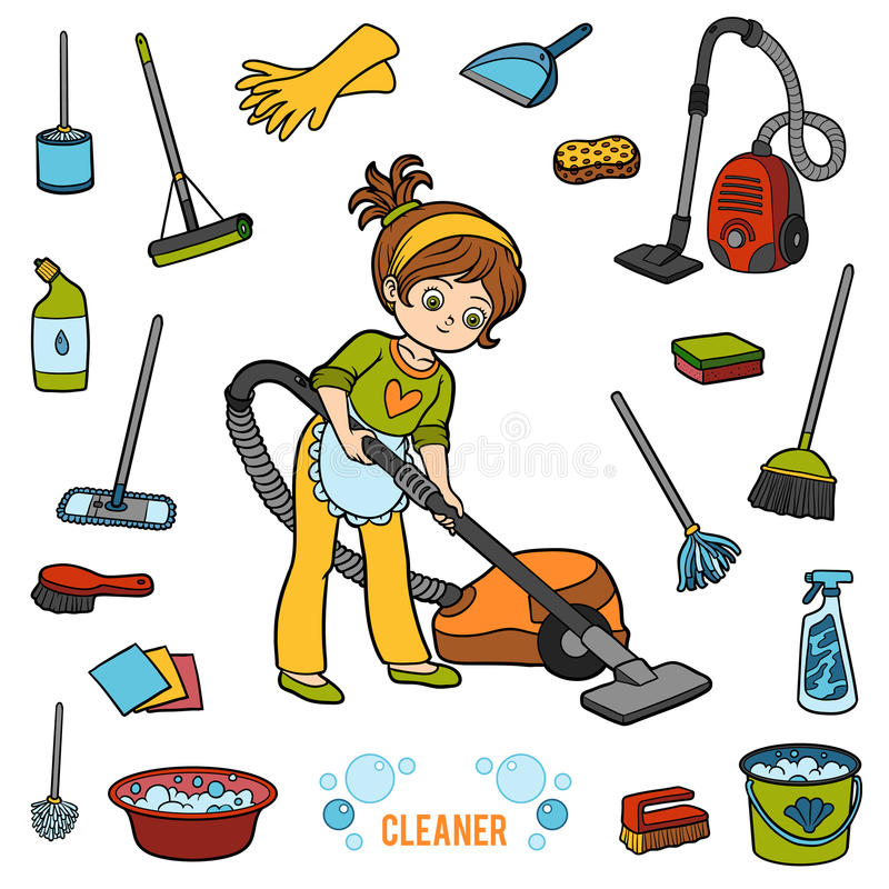 Vector set with girl and objects for cleaning. Colorful items vector illustration