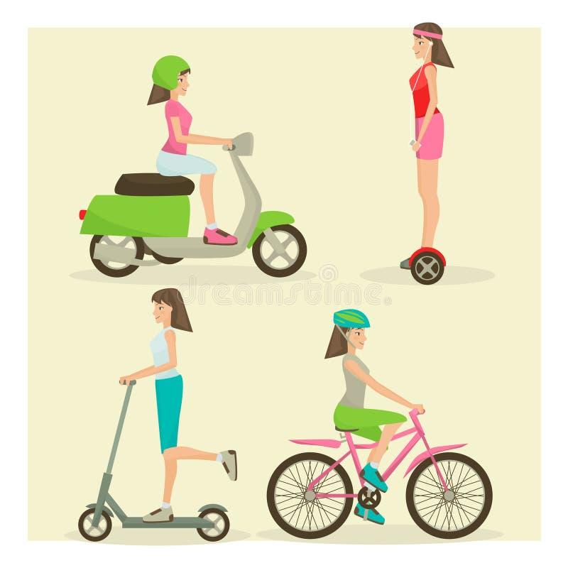 Vector set of girls riding modern street transport flat symbols vector illustration