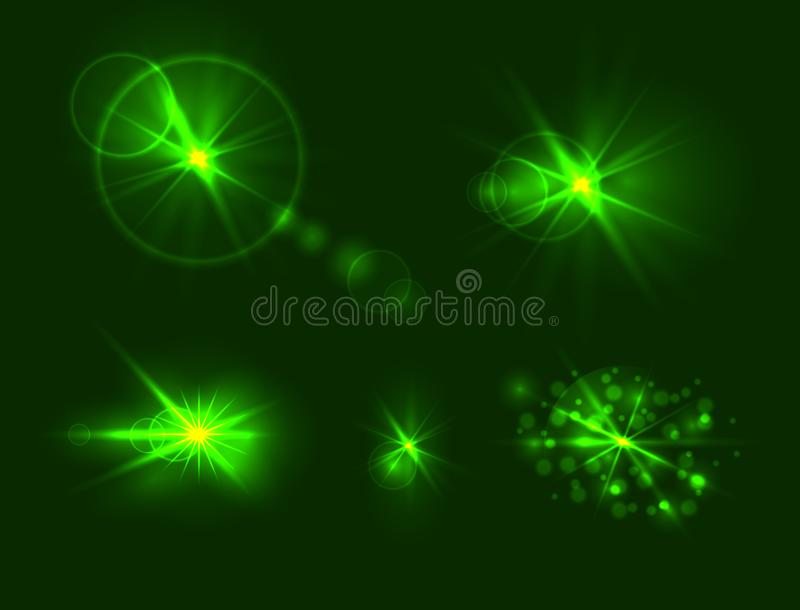 Vector Set of Glares, Green Gowing Light Spots, Different Shine Effects Collection. stock illustration