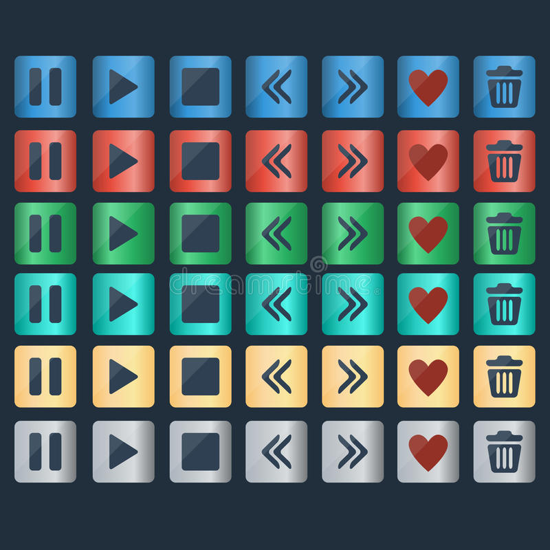 Vector set of glossy buttons icons for web design royalty free illustration
