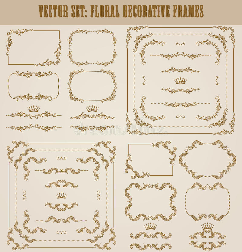 Vector set of gold decorative borders, frame. Vector set of decorative hand drawn border, divider, frame with floral elements for design of invitation, greeting stock illustration