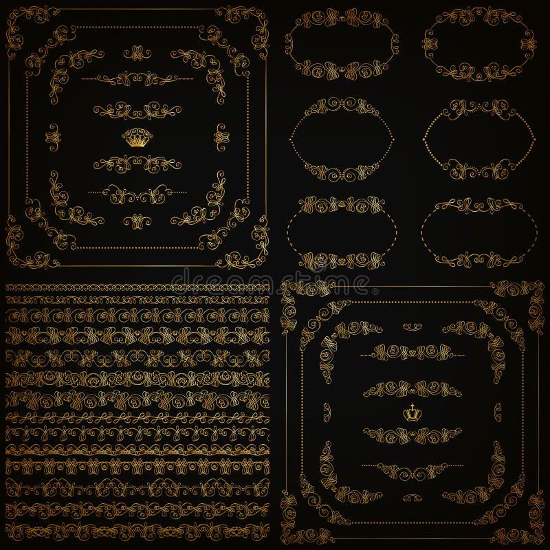 Vector set of gold decorative borders, frame vector illustration