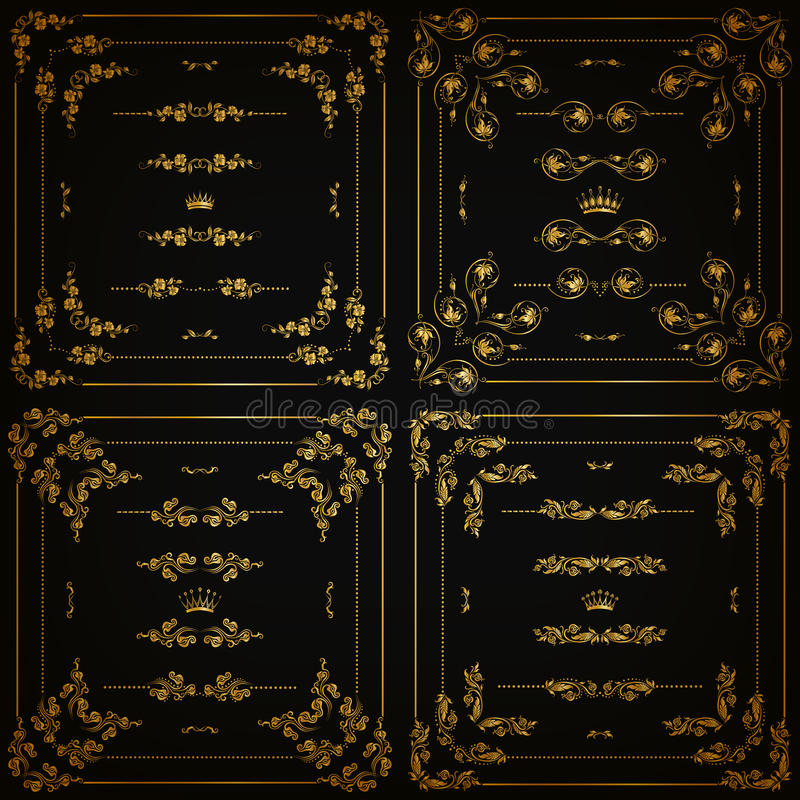 Vector set of gold decorative borders, frame stock illustration