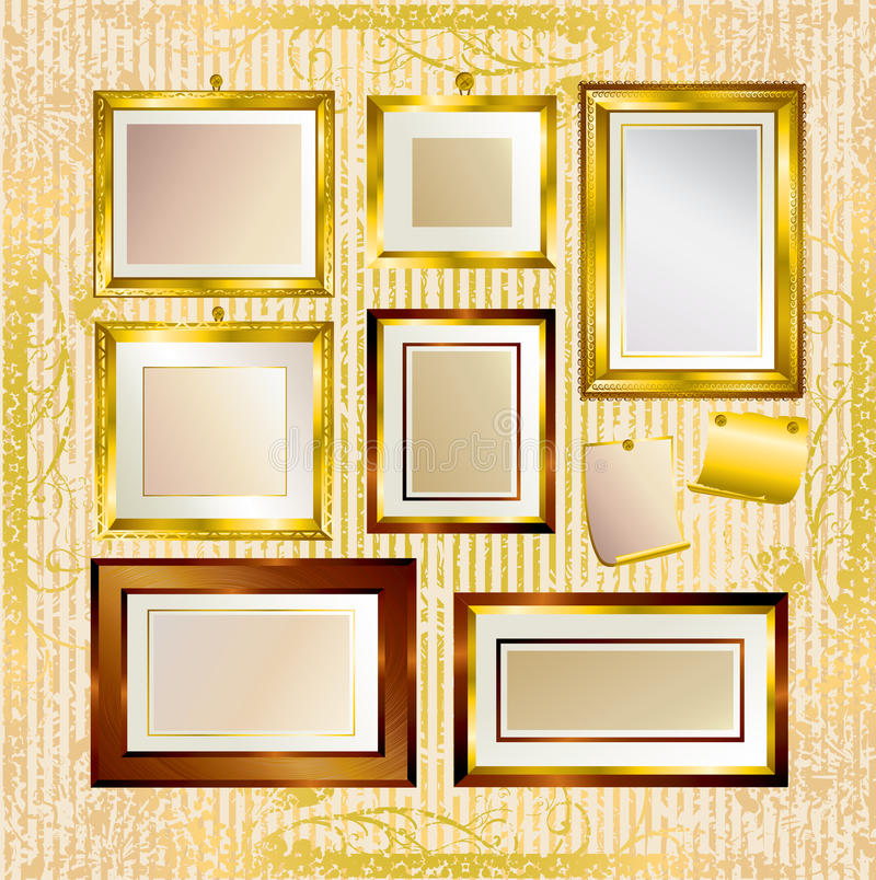 Download Vector set of gold frames stock vector. Image of harvest - 10987319