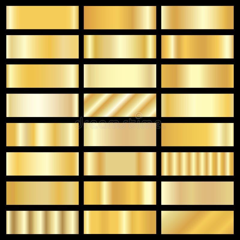 Vector set of gold gradients stock illustration