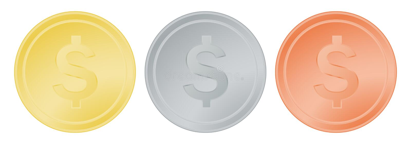 Vector set of gold silver and bronze dollar. stock illustration