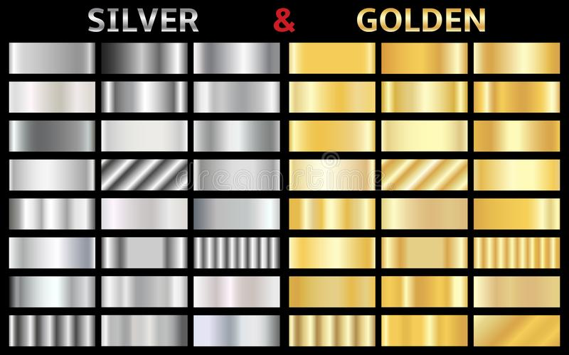 Vector set of gold and silver gradients vector illustration