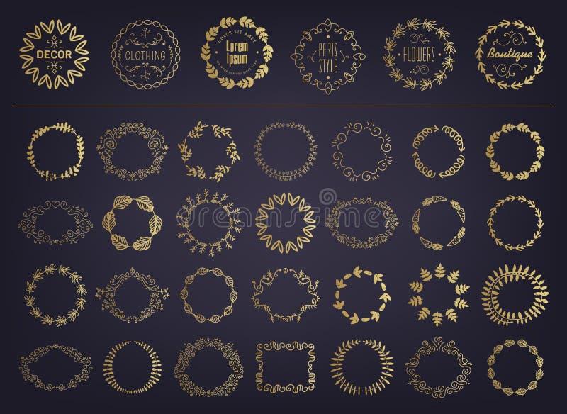 Vector set of golden floral silhouette circular laurel foliate, wheat and oak wreaths depicting an award, achievement vector illustration