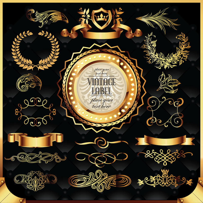 Vector set of golden labels royalty free stock images