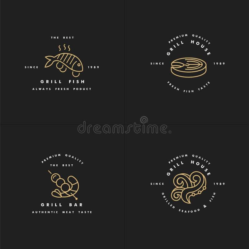 Vector set of golden logos design and templates for grill house. Fish meat emblems or badges of steak, octopus. shrimp. vector illustration
