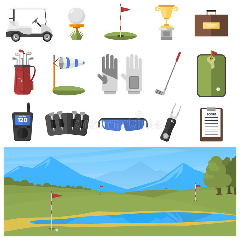 Vector set of golf icons. Vector set of stylized golf icons hobby car equipment and field. Collection cart player golf sport symbol flag hole game. Vector sign vector illustration