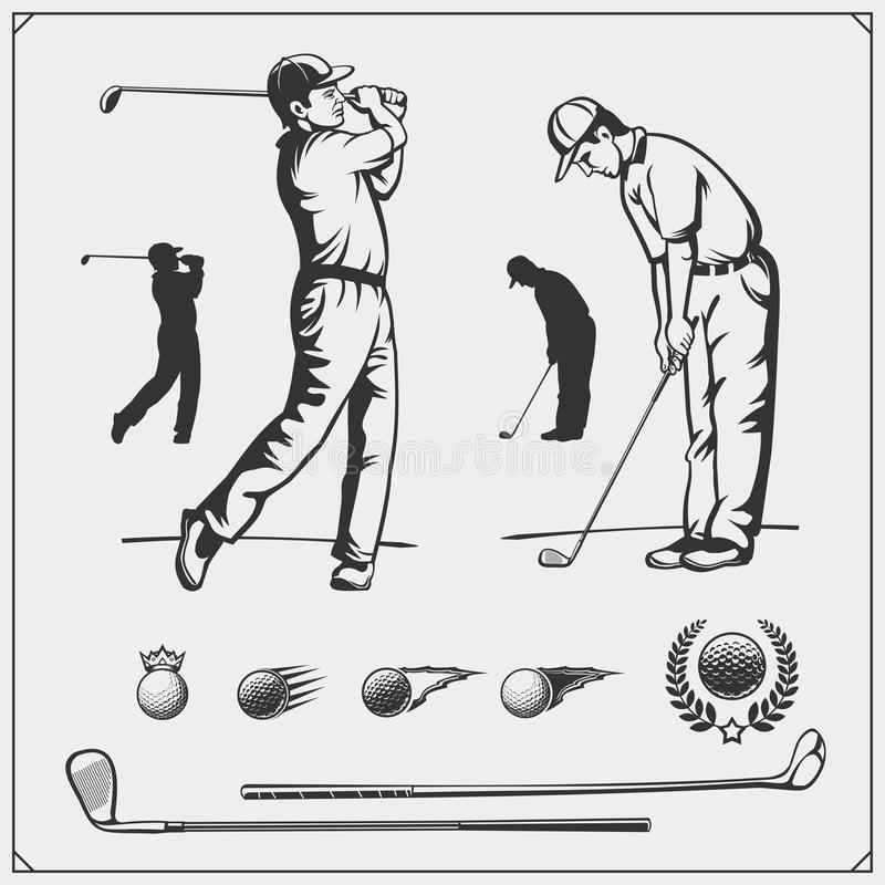 Vector set of golf players and golf elements. royalty free illustration