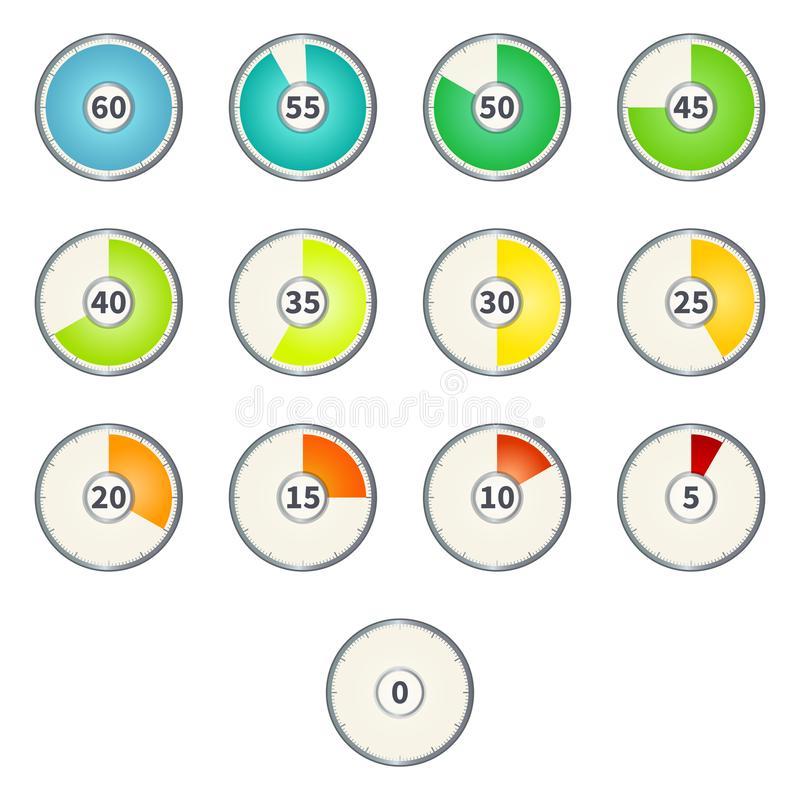 Vector Set of Gradient Color Round Dial Clocks with Numbers. vector illustration