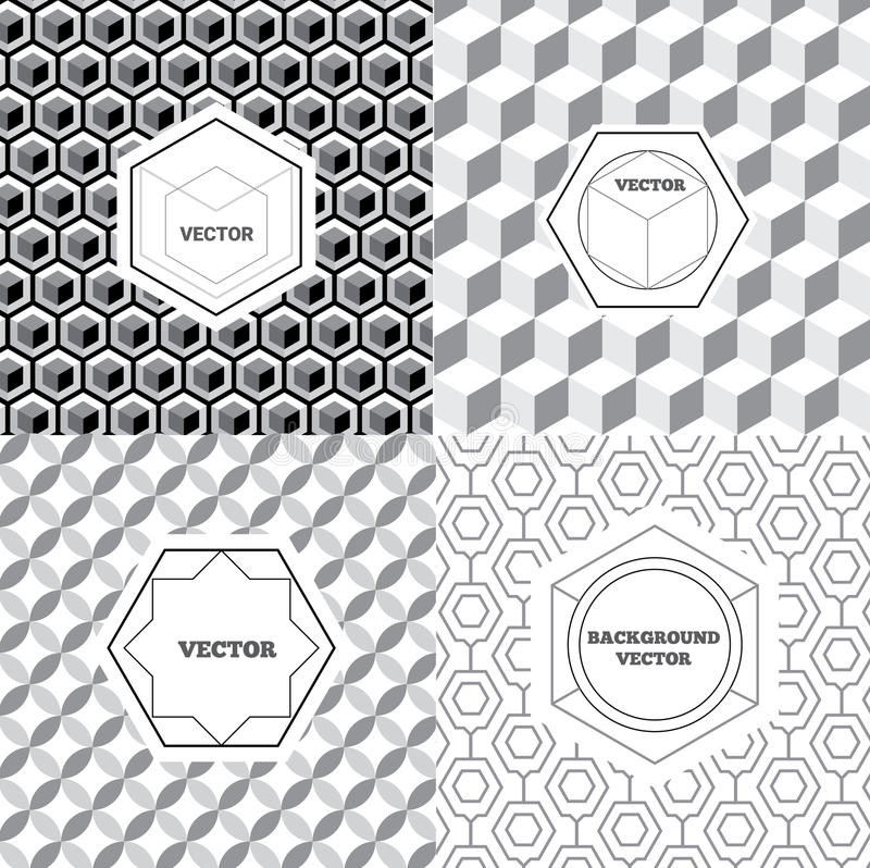 Vector set of graphic design elements, logo design templates. Geometric style, business card templates, labels and badges on decorative backgrounds stock illustration