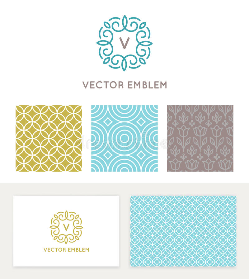 Vector set of graphic design elements and logo design templates stock illustration