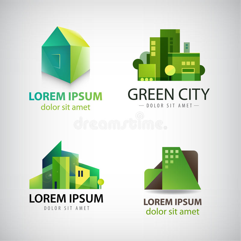 Vector set of green building icons, logos. Eco stock illustration