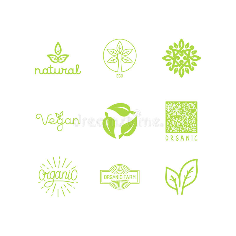 Vector set of green and organic products labels and badges vector illustration