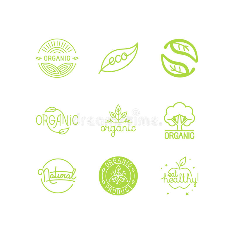 Vector set of green and organic products labels and badges stock illustration