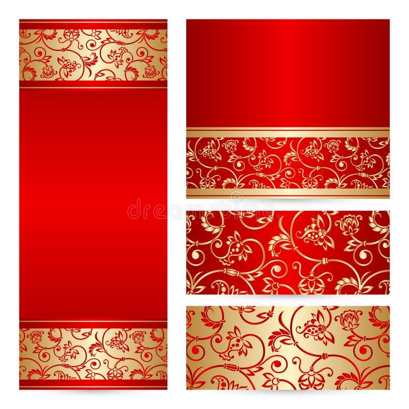 Vector set greeting or invitation cards. stock illustration