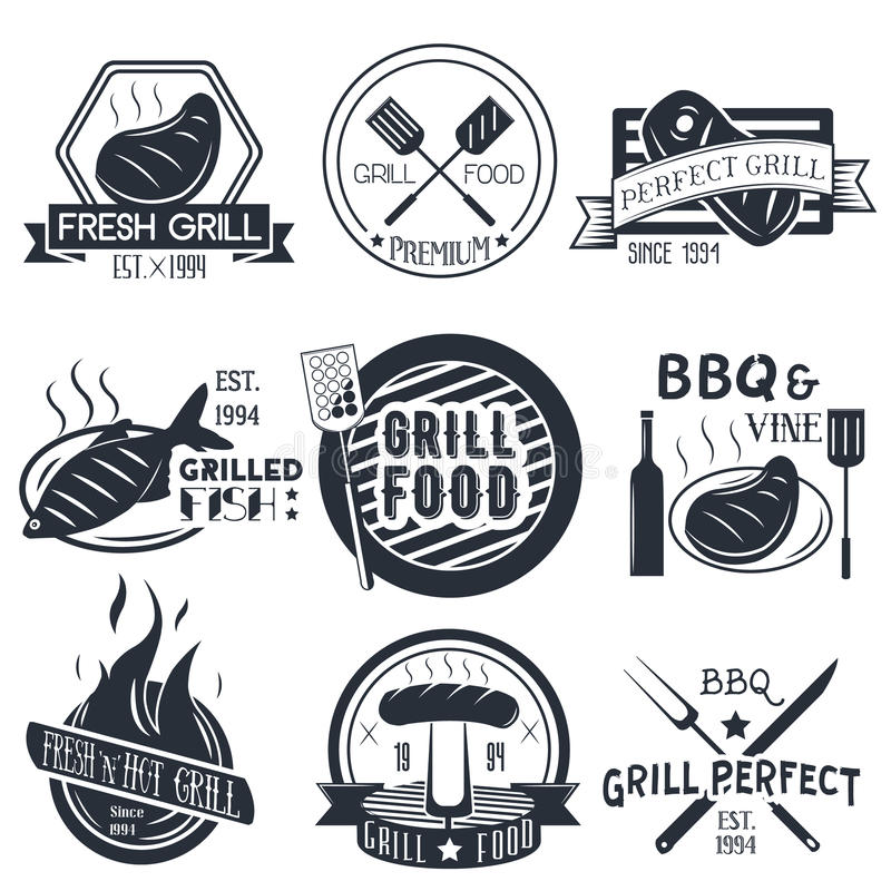 Vector set of grill and bbq labels in vintage style. royalty free illustration